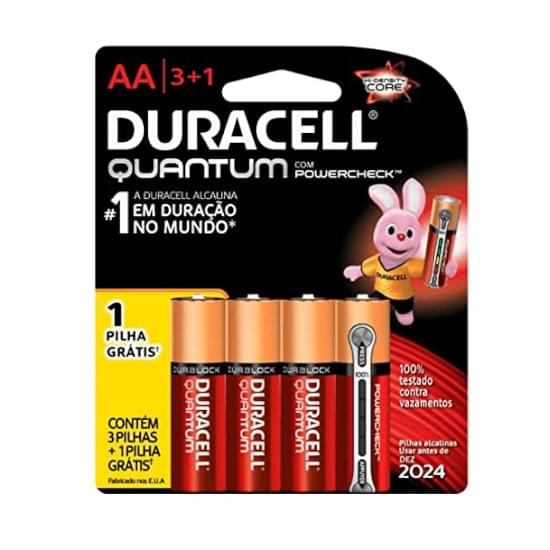 Imagem de    pilha duracell quantum aa pequena leve 4 pague 3 unidades