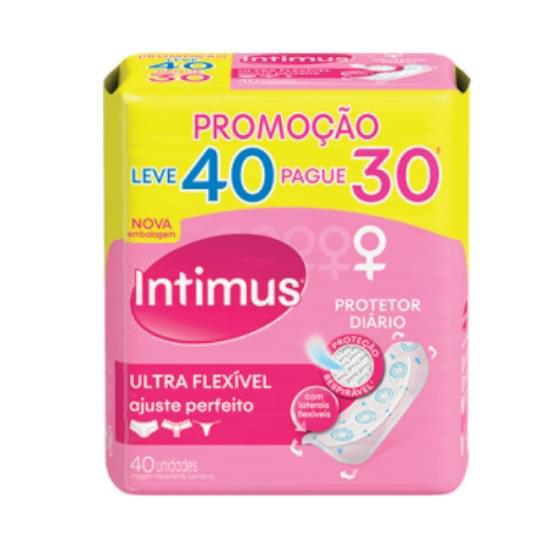 Imagem de    protetor diário intimus sem abas e sem perfume ultra flexível leve 40 pague 30 unidades