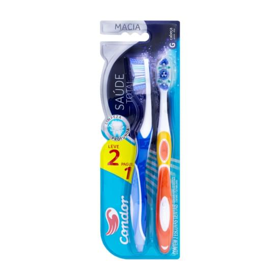 Imagem de Escova dental macia condor saúde total cabeça g leve 2 pague 1 unidade