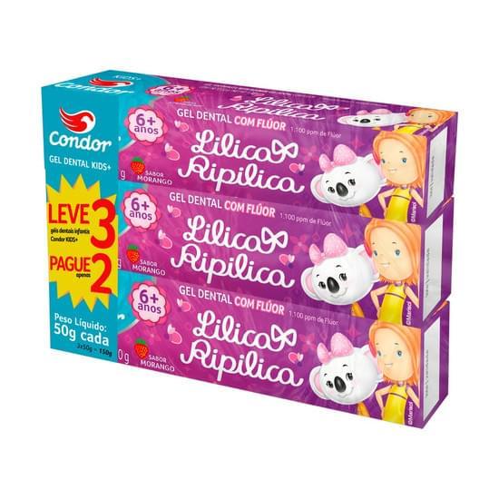 Imagem de Gel dental infantil com flúor morango lilica ripilica condor kids+ 3 caixa 50g cada leve 3 pague 2 unidades