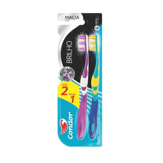 Imagem de    escova dental condor brilho macia com limpador de língua leve 2 pague 1 ref. 8115-0