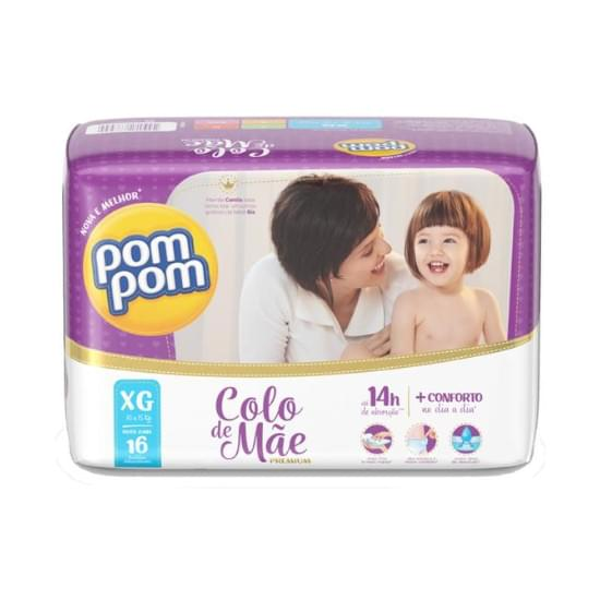 Imagem de    fralda infantil pom pom colo de mãe 14h tamanho xg jumbo | com 16 unidades
