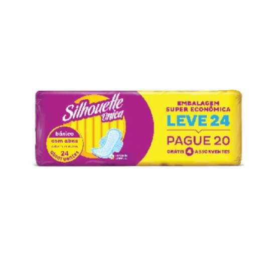 Imagem de    absorvente diário silhouette única com abas básico suave leve 24 pague 20 unidades