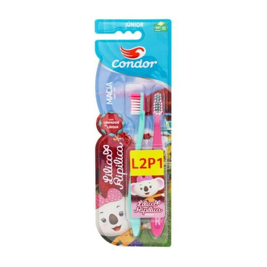 Imagem de Escova dental macia lilica ripilica condor júnior cabeça p leve 2 pague 1 unidade