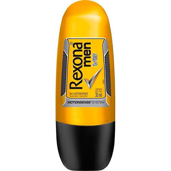 Imagem de Desodorante roll-on masculino rexona v8 compacto 30ml | com 6 unidades