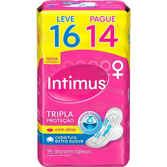 Imagem de Absorvente diário intimus com abas tripla proteção suave gel leve 16 pague 14 unidades