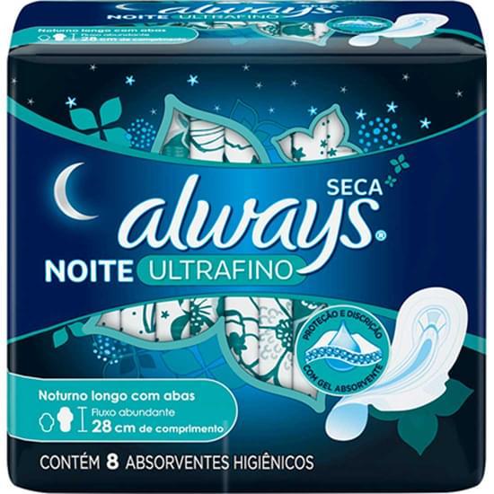 Imagem de Absorvente noturno always com abas ultrafina seca | com 8 unidades