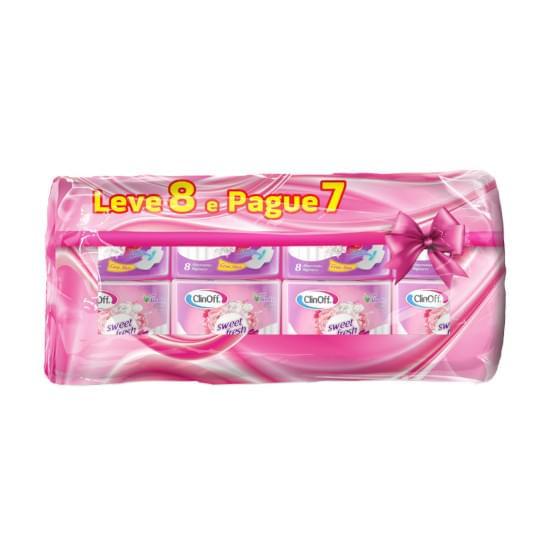 Imagem de Absorvente diário clin off com abas kit promocional suave pacote leve 8 pague 7 unidades