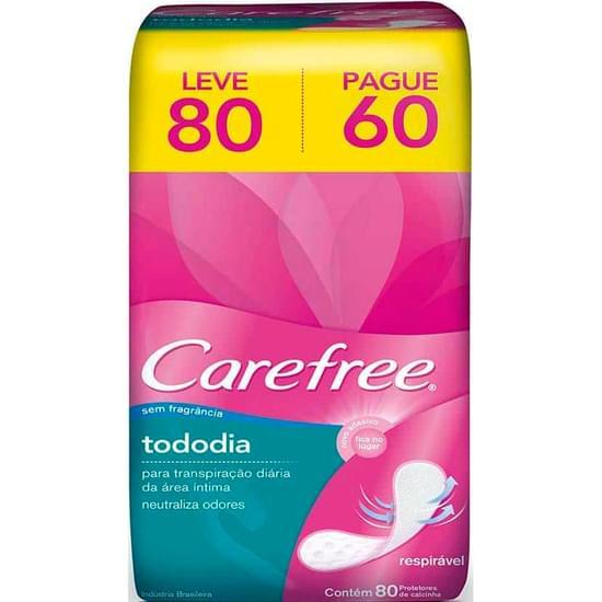Imagem de Protetor diário carefree sem abas sem perfume todo dia leve 80 pague 60 unidades