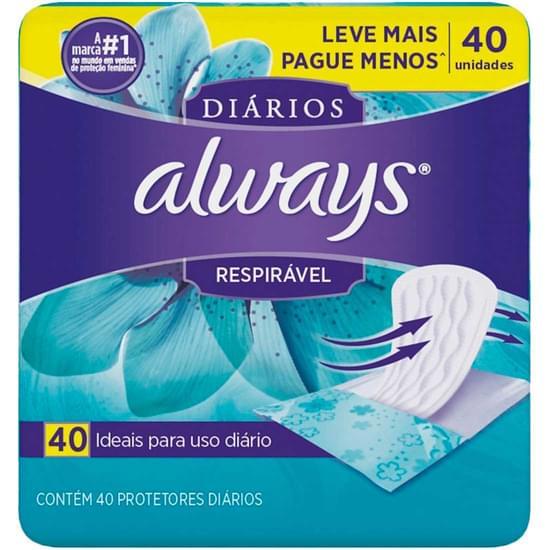Imagem de Protetor diário always sem abas respirável | com 40 unidades