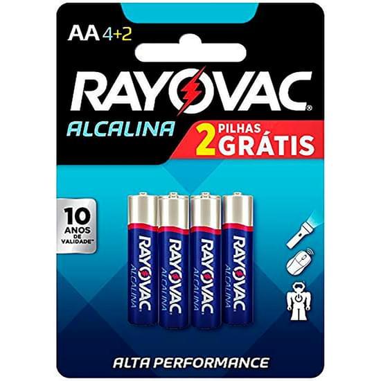 Imagem de Pilha rayovac alcalina aa pequena leve 6 pague 4 unidades