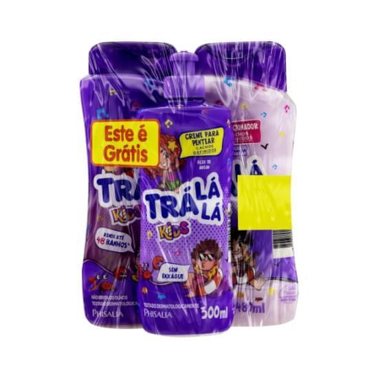 Imagem de Kit banho trá lá lá kids cachos shampoo 480ml e condicionador 480ml + grátis álcool gel