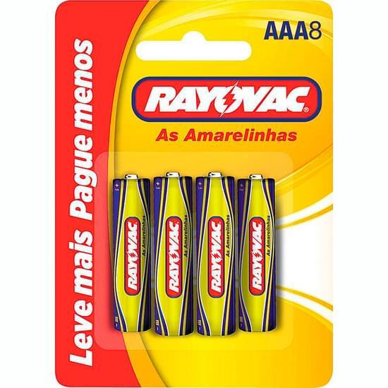 Imagem de Pilha rayovac rayovac zinco amarelinhas aaa8 cartela | com 8 unidades leve mais pague menos