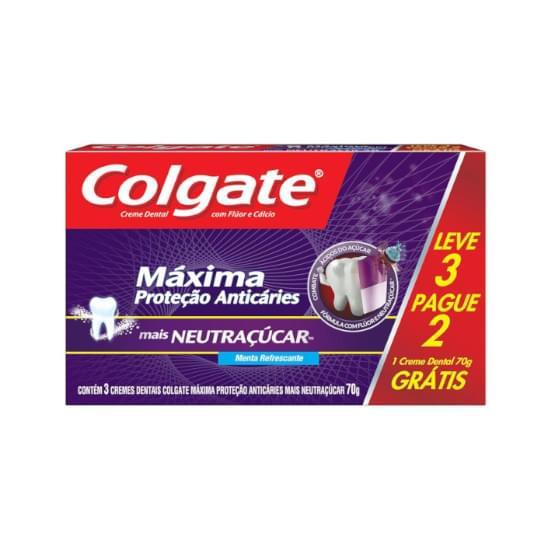 Imagem de Creme dental colgate máxima proteção anticáries neutraçúcar 70g leve 3 pague 2