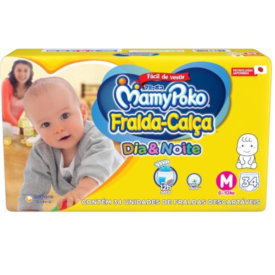 Imagem de Fralda-calça infantil mamypoko dia & noite jumbo tamanho m | com 34 unidades