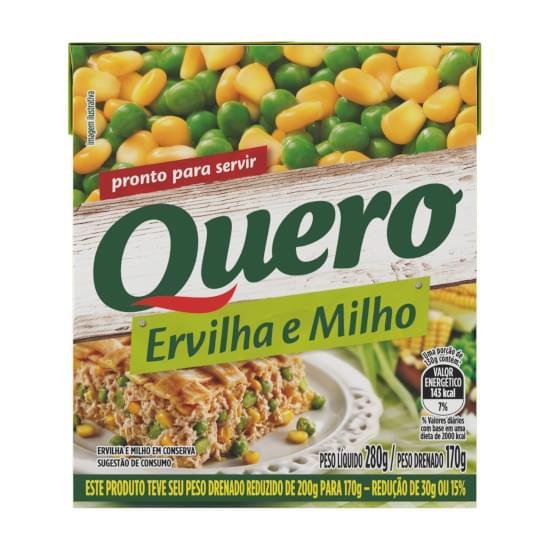 Imagem de Ervilha e milho quero caixa 170g